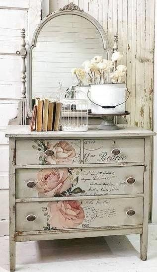 Beautiful Painted Shabby Chic Dresser Love The Roses Furniture Painted French Shabbychic Shabbyc Shabby Chic Dresser Shabby Chic Furniture Shabby Chic Room