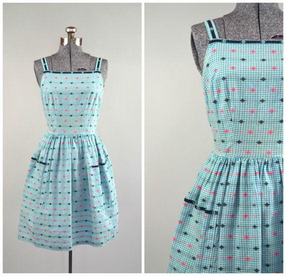 Celeste   Vintage 1950s Southwestern Gingham Dress   50s Turquoise Sundress by RevengeOfTheDress, $22.00