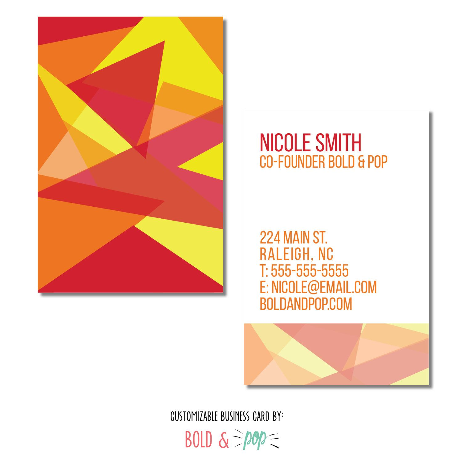 Bold Pop Thepopshop Fire Mosaic Business Card Template Business Card Template Squarespace Website Design Customizable Business Cards
