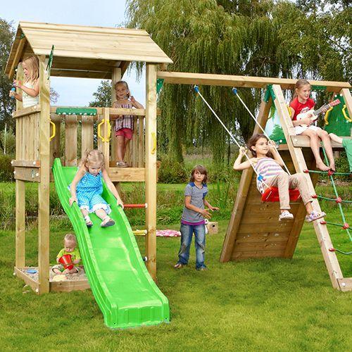 Jungle Gym Casa legetårn med klatremodul Med rutsjebane, sandkasse og klatrestativ - Coop.dk