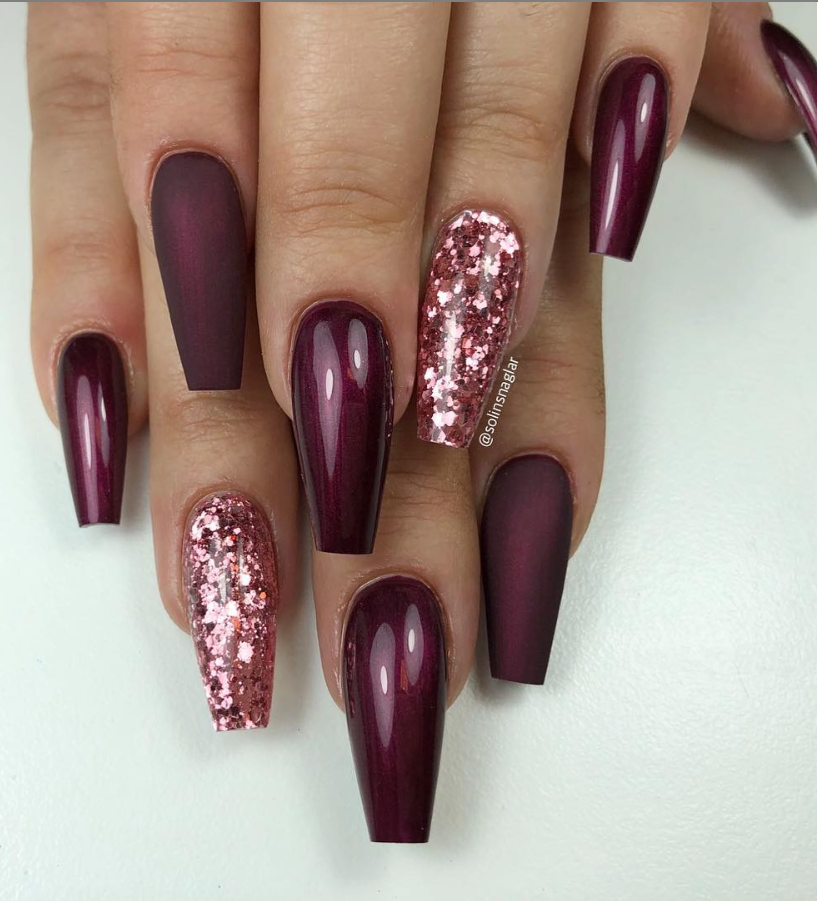 46 Elegant Acrylic Ombre Burgundy Coffin Nails Design For Short And Long Nails Page 13 Of 46 With Images Coffin Nails Designs