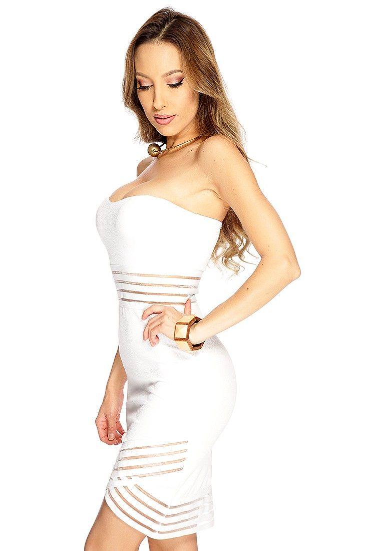 White Strapless Stripe Mesh Sexy Body Con Dress