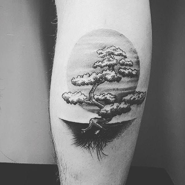 Bonsai Tree Tattoo By 1984 Studio Bonsai Bonsaitree Japanese 1984studio Bonsai Tree Tattoos Tree Tattoo Men Tree Leg Tattoo