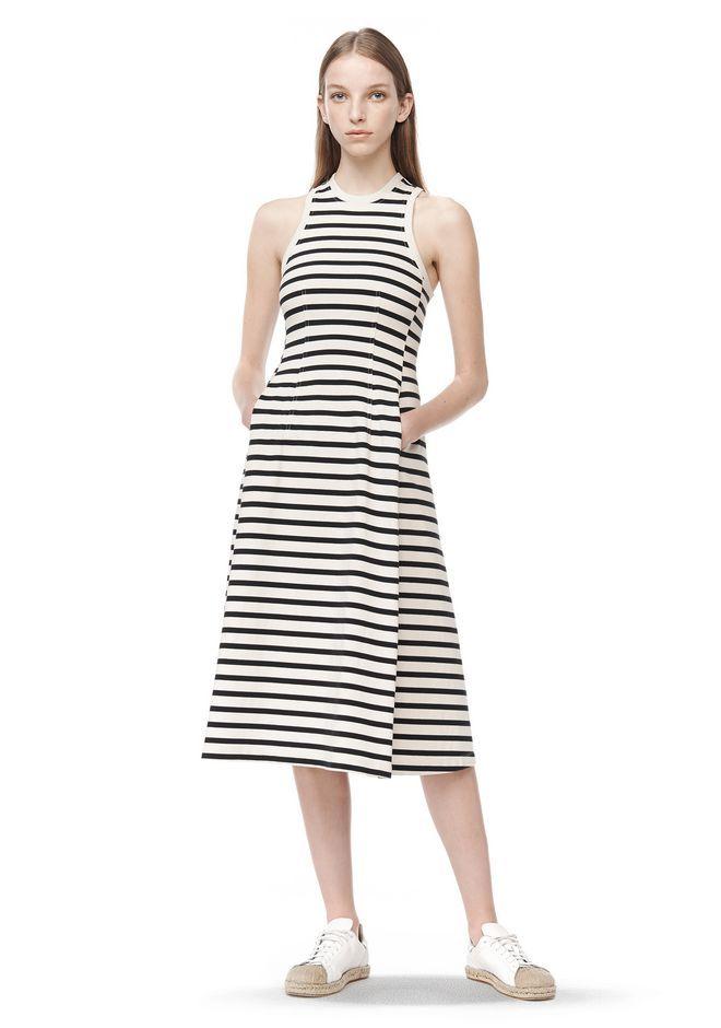 T By Alexander Wang Woman Striped Cotton-jersey Midi Dress Ivory Size S Alexander Wang MBkJtNO0O