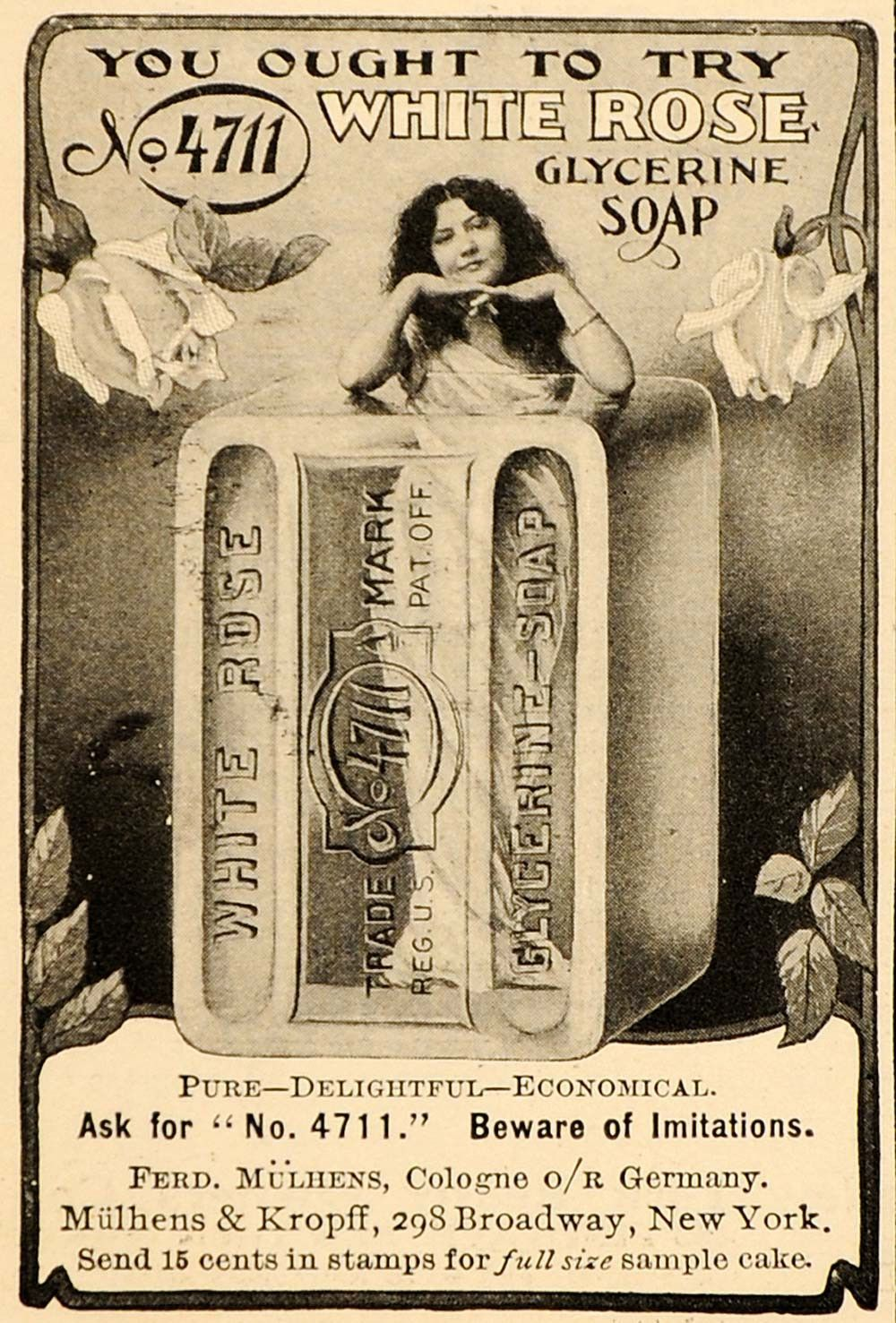 1907 Vintage Ad No. 4711 White Rose Glycerine Soap – ORIGINAL ADVERTISING OLD3A