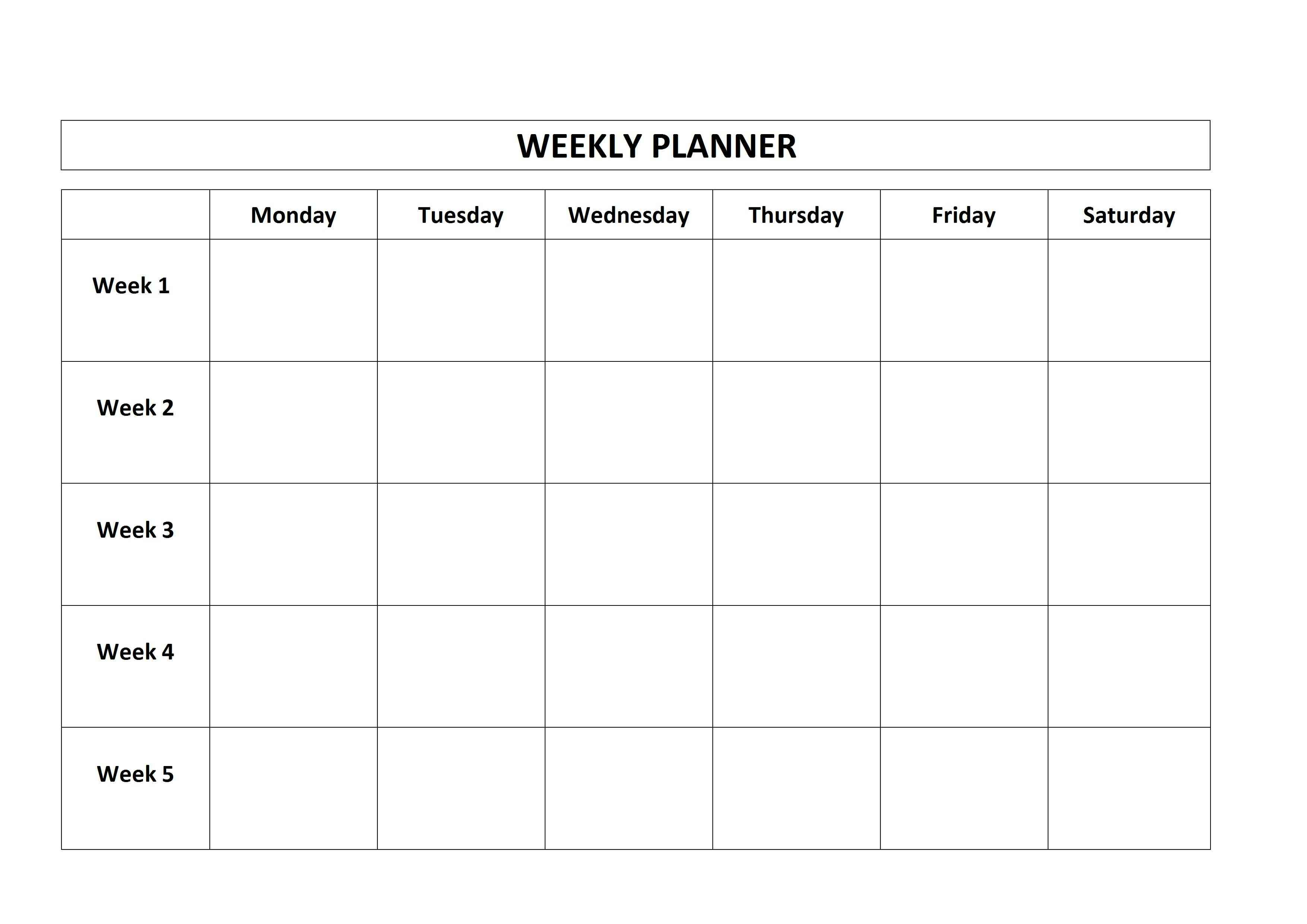 Free Printable Weekly Planner Monday Friday School Calendar On – Free Printable Weekly Planner