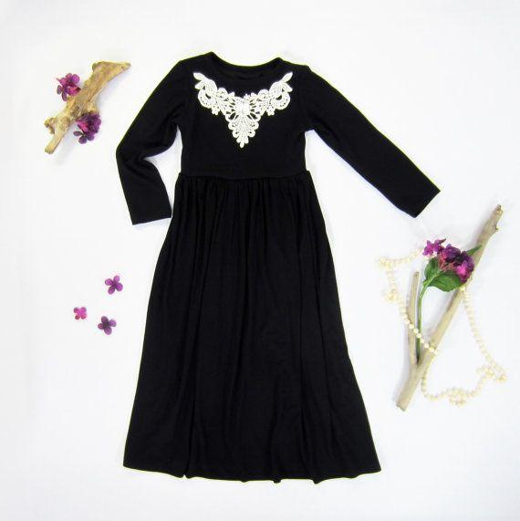 d7e89820500 Girls Long Sleeve Black Maxi Dress w Ivory Applique by LibertyLark