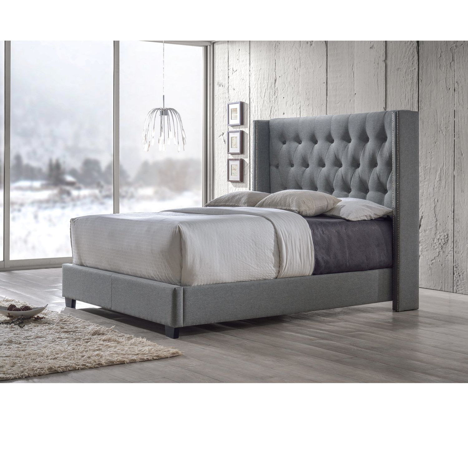 The King size button tufting bed frame features a slight arching headboard  adds a classic touch