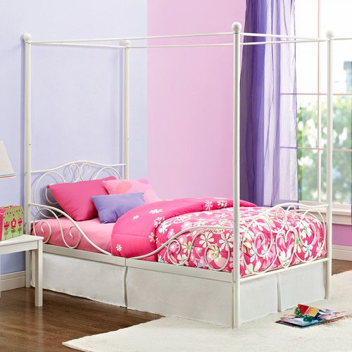 DHP Twin Metal Canopy Bed & DHP Twin Metal Canopy Bed | Bugaboos | Pinterest | Metal canopy ...