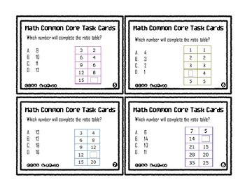Math Common Core Task Cards 6th Grade CCSS 6.RP.3a | Ratio and ...