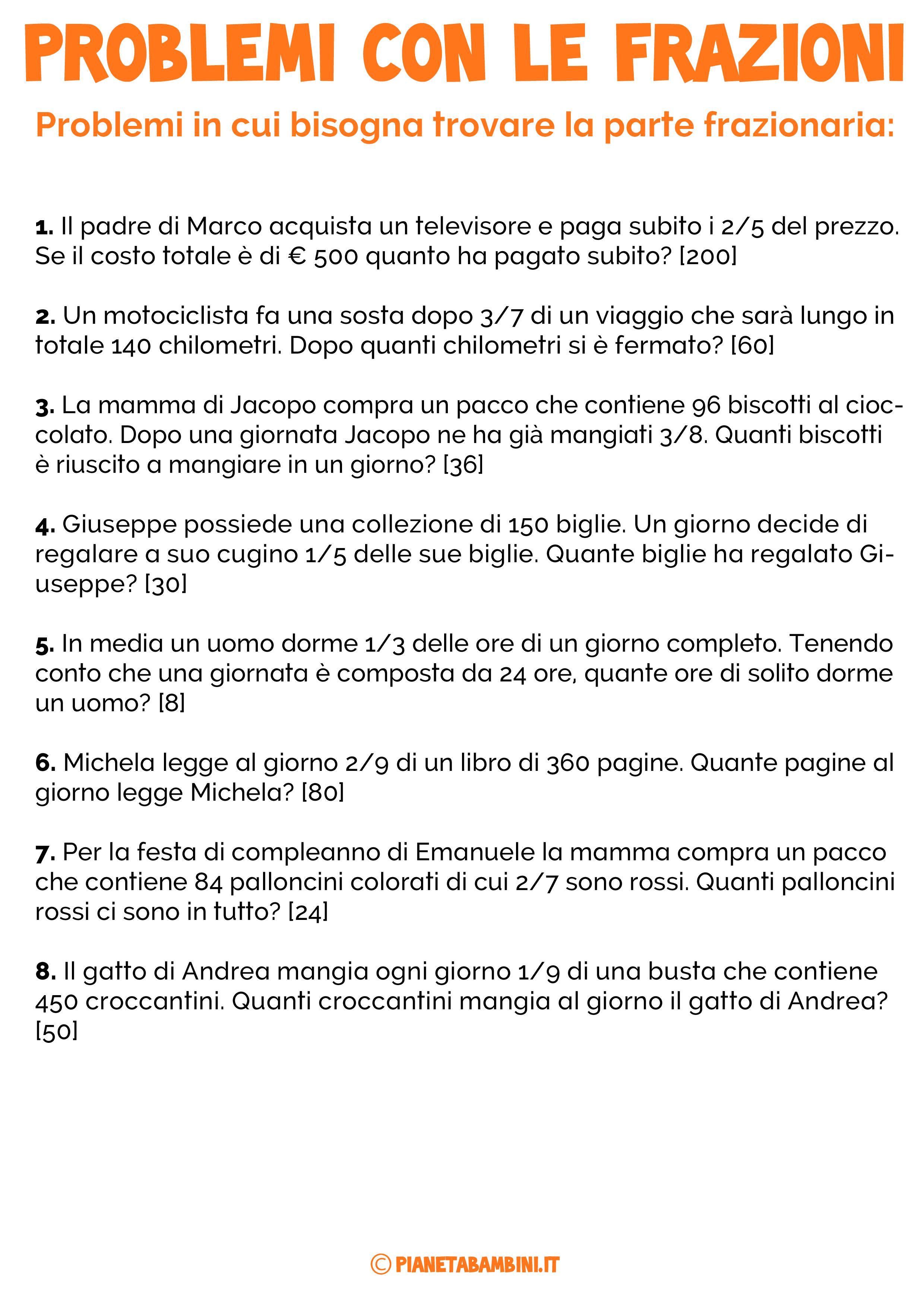 32 Problemi con le Frazioni per la Scuola Primaria con ...