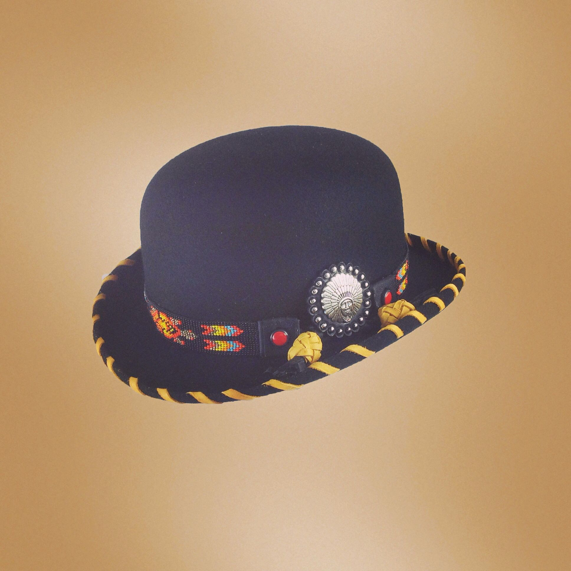 d4e3133249b Black Felt Bowler hat with beaded hatband and indian Concho by Red Star  Riggings. -  CowgirlChic