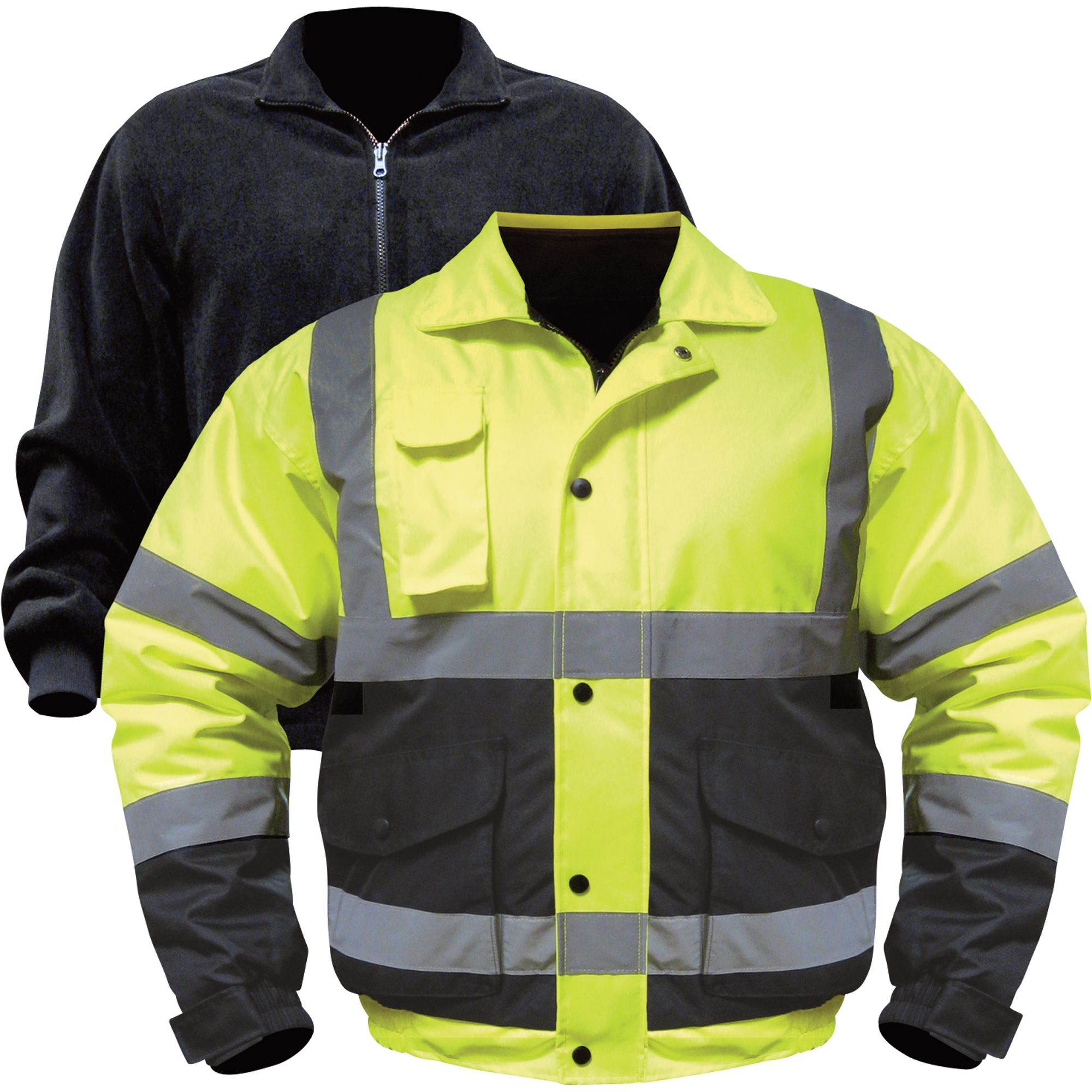 Class 3 highvisibility 3in1 bomber jacket with zipout