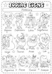 English worksheet: Zodiac Signs (1/3) - Pictionary | kids ...