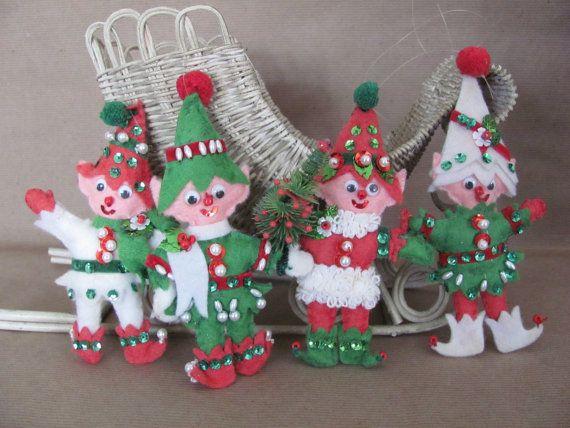 Vintage Christmas Ornaments 1960's Felt Elf by ThirstyOwlVintage