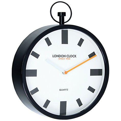 Buy London Clock Company Fob Wall Clock, Dia. 30cm, Black Online at…