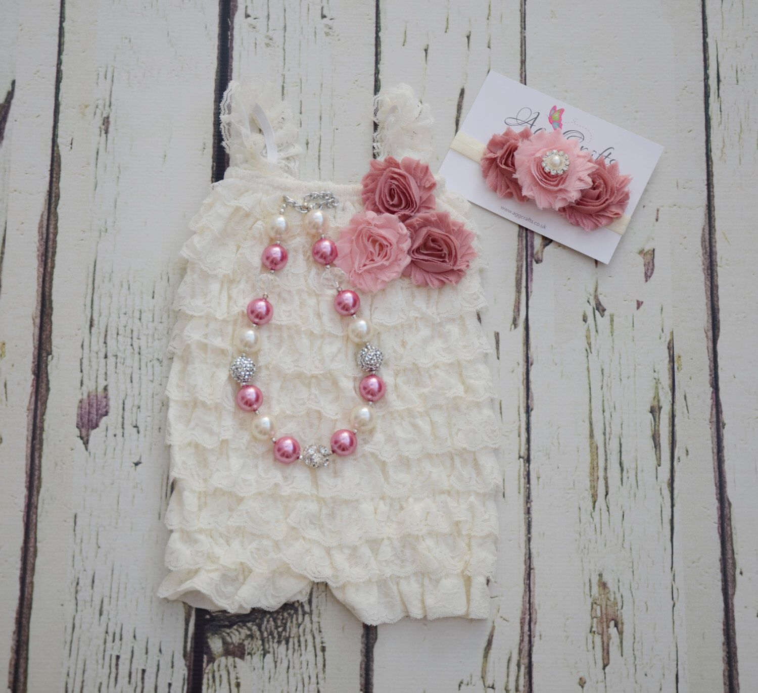 ee169e3ea Ivory lace romper, headband and necklace set, Baby girl romper, Baby Girl  cake