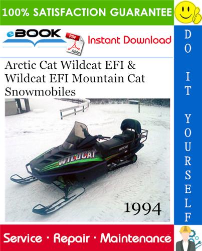 1994 Arctic Cat Wildcat Efi Wildcat Efi Mountain Cat Snowmobiles Service Repair Manual Wild Cats Repair Manuals Repair
