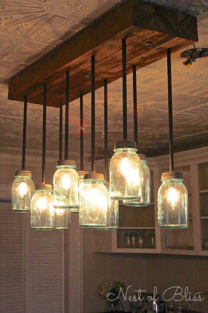 mason jar lights partyraum ideen pinterest beleuchtung esszimmerlampe und lampe esstisch. Black Bedroom Furniture Sets. Home Design Ideas