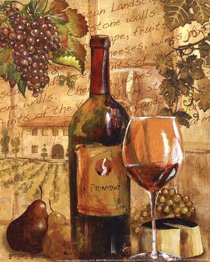 Wine Collage I Mini By Gregory Gorham Wine Painting Wine Art Wine Poster