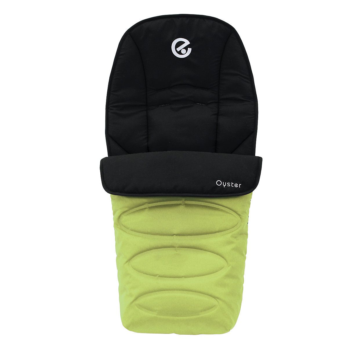 Babystyle Oyster Footmuff - Lime. A coordinating Oyster Footmuff, complimenting your stroller in the winter and summer as the zip off part can also be used as a seat liner. It has a magnetic panel to the front for extra coverage in the winter months and an elasticated strap across the back to hold the footmuff in place at the footrest.