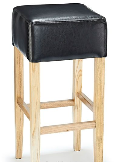 Rhone Black Real Leather Hard Wood Oak Bar Stool No Back