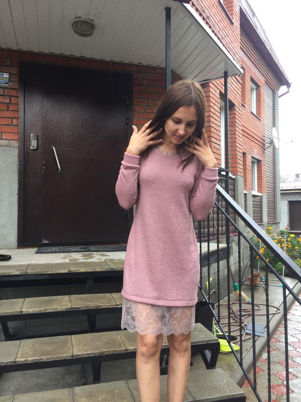 Купить Платье-свитер с кружевом Франции - платье, Платье нарядное ...