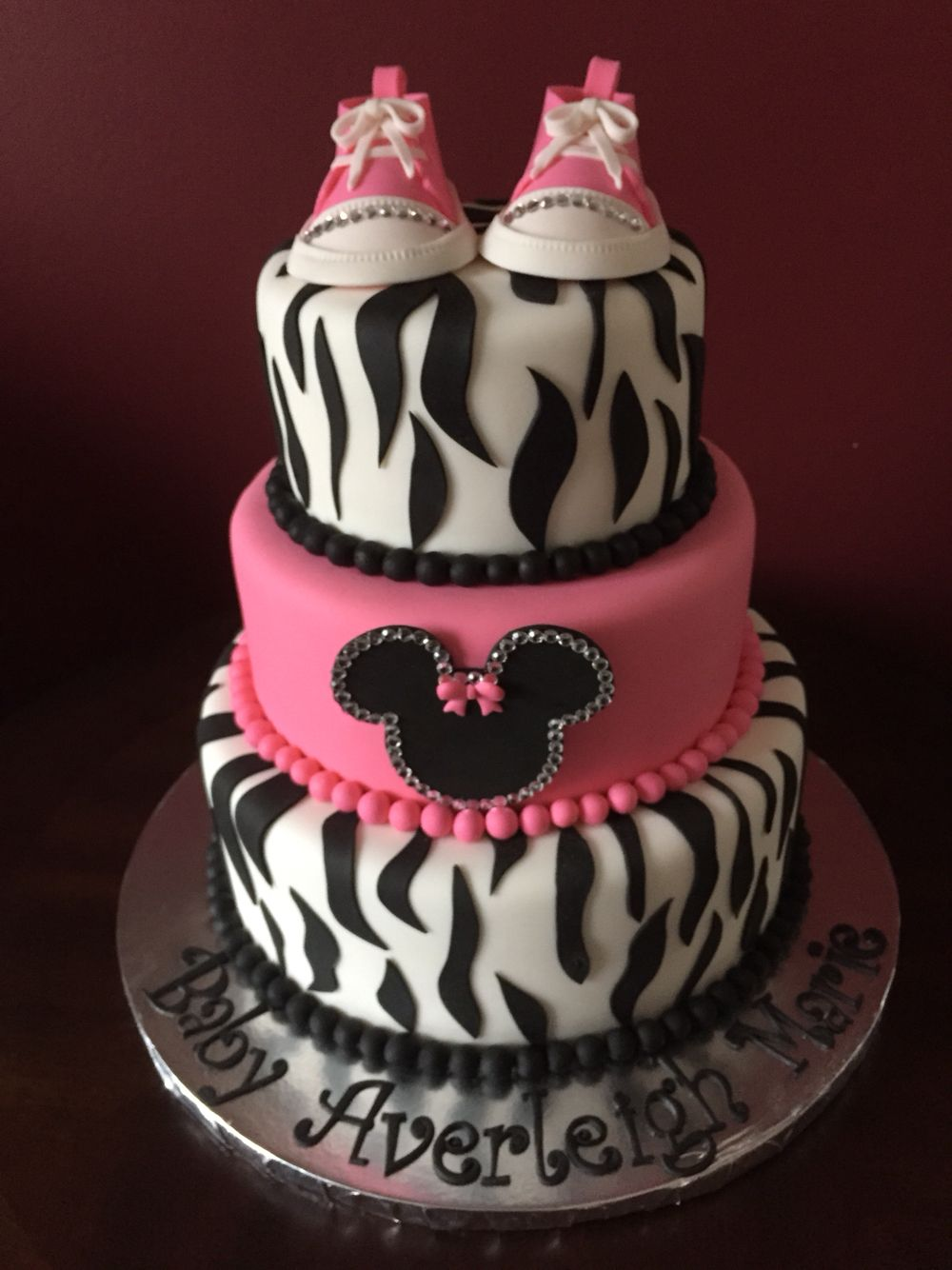 Minnie Mouse Zebra Print Baby Shower Cake Shower Cakes Pinterest