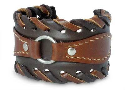 Thai Handmade Leather Cuff Bracelet by Novica