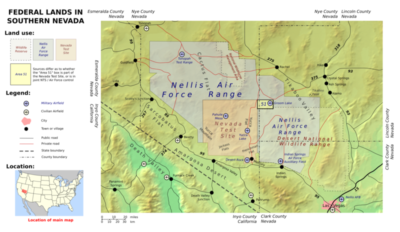 Area 51 shares a border with the Yucca Flat region of the