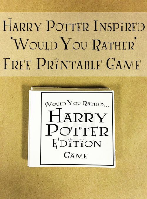 graphic relating to Would You Rather Printable named Harry Potter Would By yourself Instead Recreation Looking through Harry potter