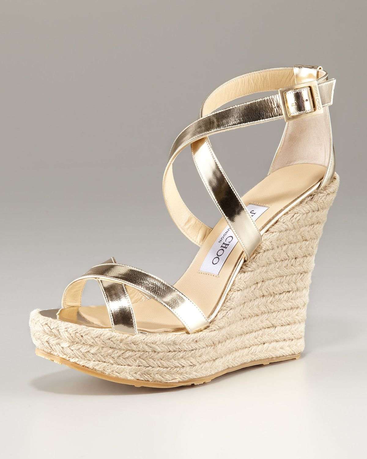 601d68fd5fd29 Jimmy Choo Crisscross Espadrille Wedge in Gold (champagne)