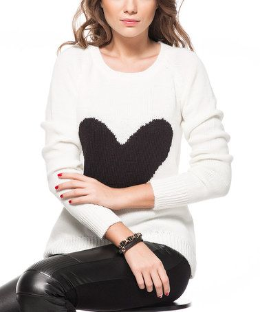 Another great find on #zulily! White & Black Heart Scoop Neck Sweater by L'Adore #zulilyfinds