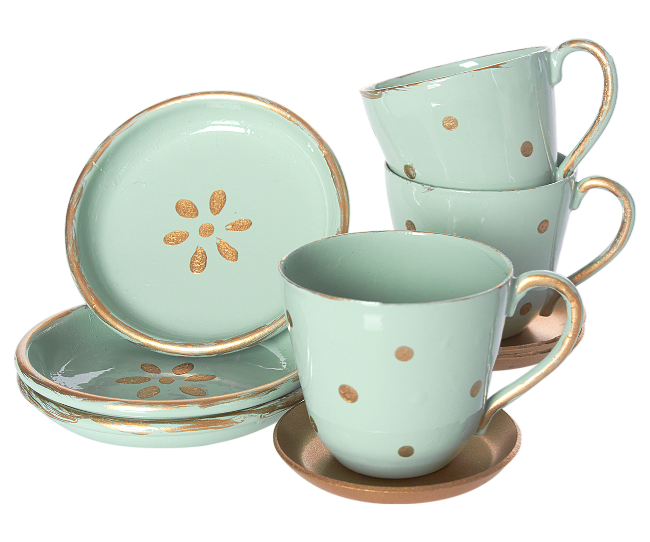 Tea Time Set, 3 cups and 3 plates
