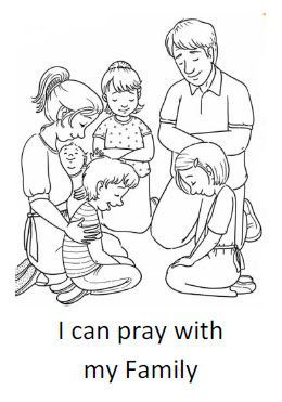 I can pray with my family Coloring Sheet Homeschool Bible