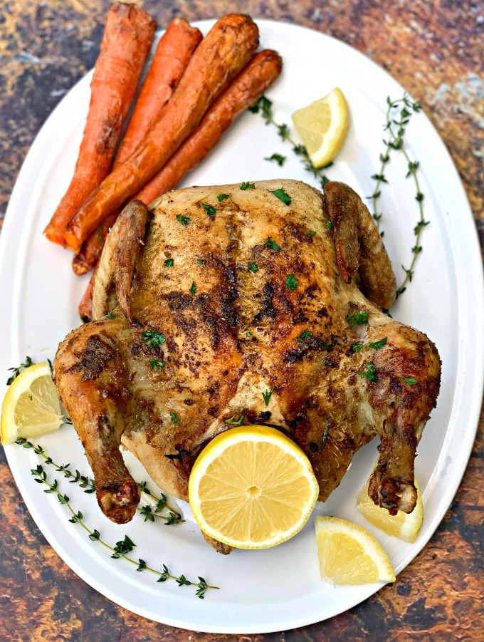 Easy Air Fryer Rotisserie Roasted Whole Chicken + VIDEO