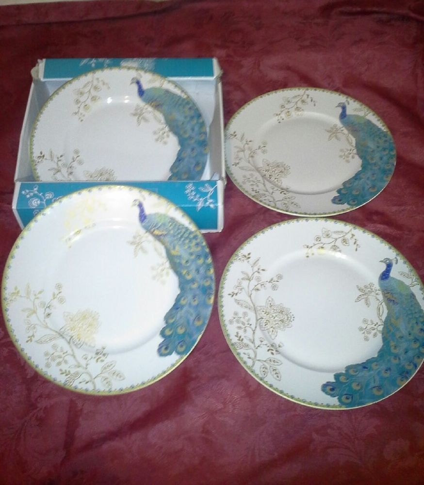 NEW 222 FIFTH PEACOCK GARDEN Dinner Plates S/4 TEAL Turquoise Porcelain China #222Fifth #Peacock #DinnerPlates