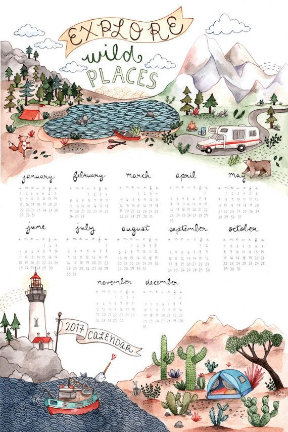 I present to you a delightful adventure calendar for all the outdoor enthusiasts out there! It features a variety of beautifully painted landscapes with fun and flare. This one sheet calendar measures 11x17 and displays all the days of the year, handwritten by me. Printed on sturdy white paper with vibrant colors. Calendars are mailed flat, safely and securely to your door. This print would look great in a childs room! Thanks for looking