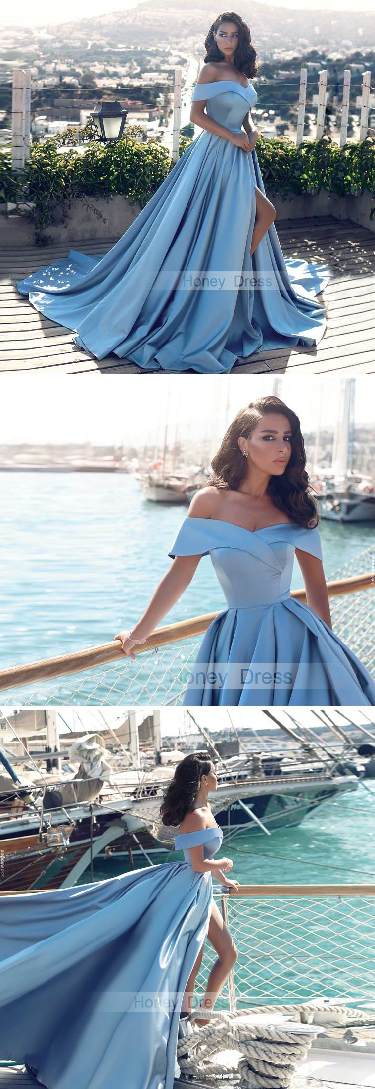 00c91219d21 Glamorous Baby Blue Satin Prom Dress, Off-the-shoulder A-line Long Formal  Dress With Slit