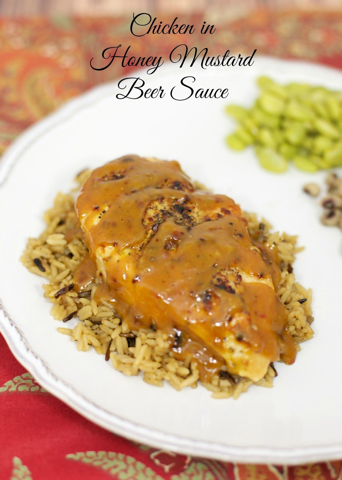 Chicken in Honey Mustard Beer Sauce - pan seared chicken simmered in a honey mustard beer sauce - ready in under 30 minutes! No-prep! Serve chicken over rice and spoon extra sauce on top.