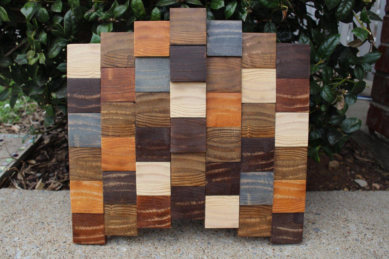 Modern Wood Mosaic Geometric Wall Art 13 X 12 Chevron