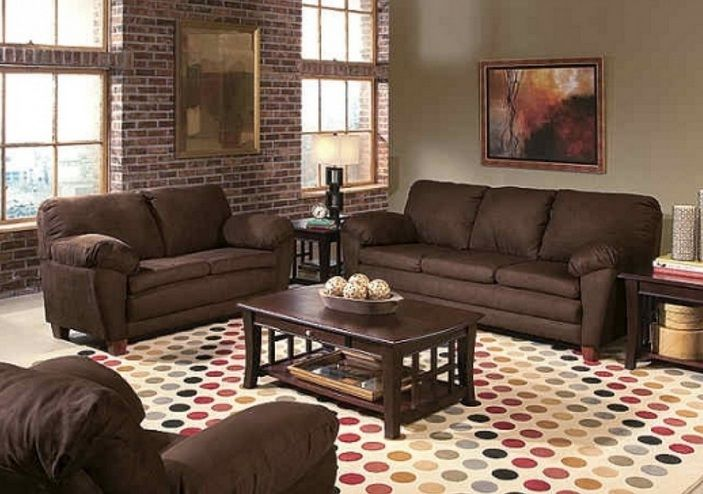 Brown living room decorating ideas with brick wall  colorful carpet - Brown Couch Living Room