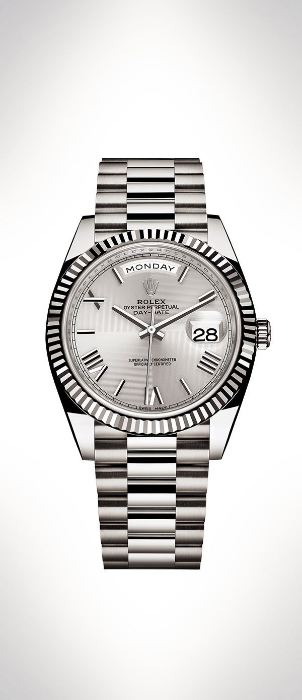 The rolex daydate in ct white gold with a silver dial with
