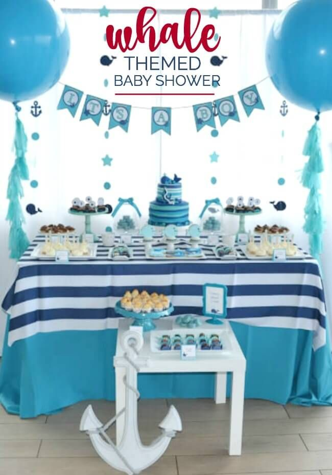 A Boy S Whale Themed Baby Shower Baby Shower Themes Whales Baby