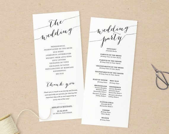 Wedding Programs TemplatePrintable Programs Instant Download - Pages wedding program template