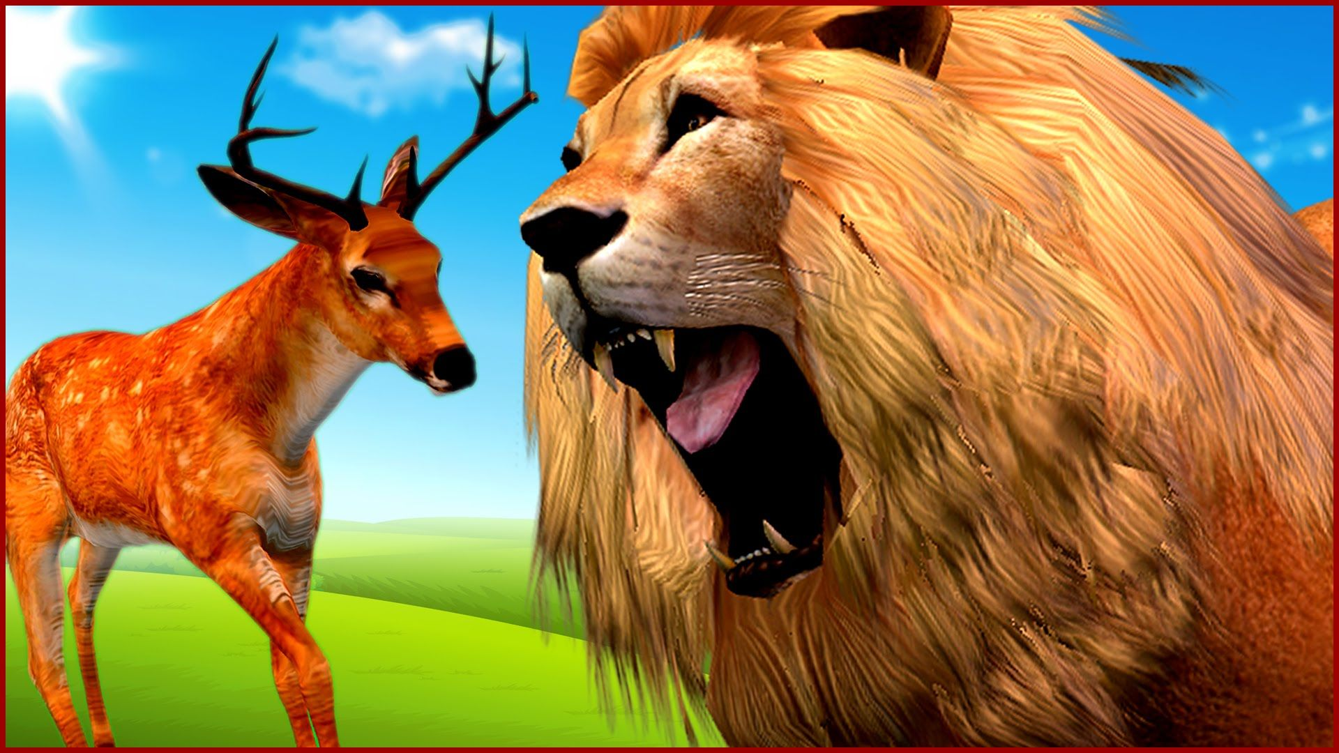 African Lion Hunting Deer Animal Cartoons Fighting Videos