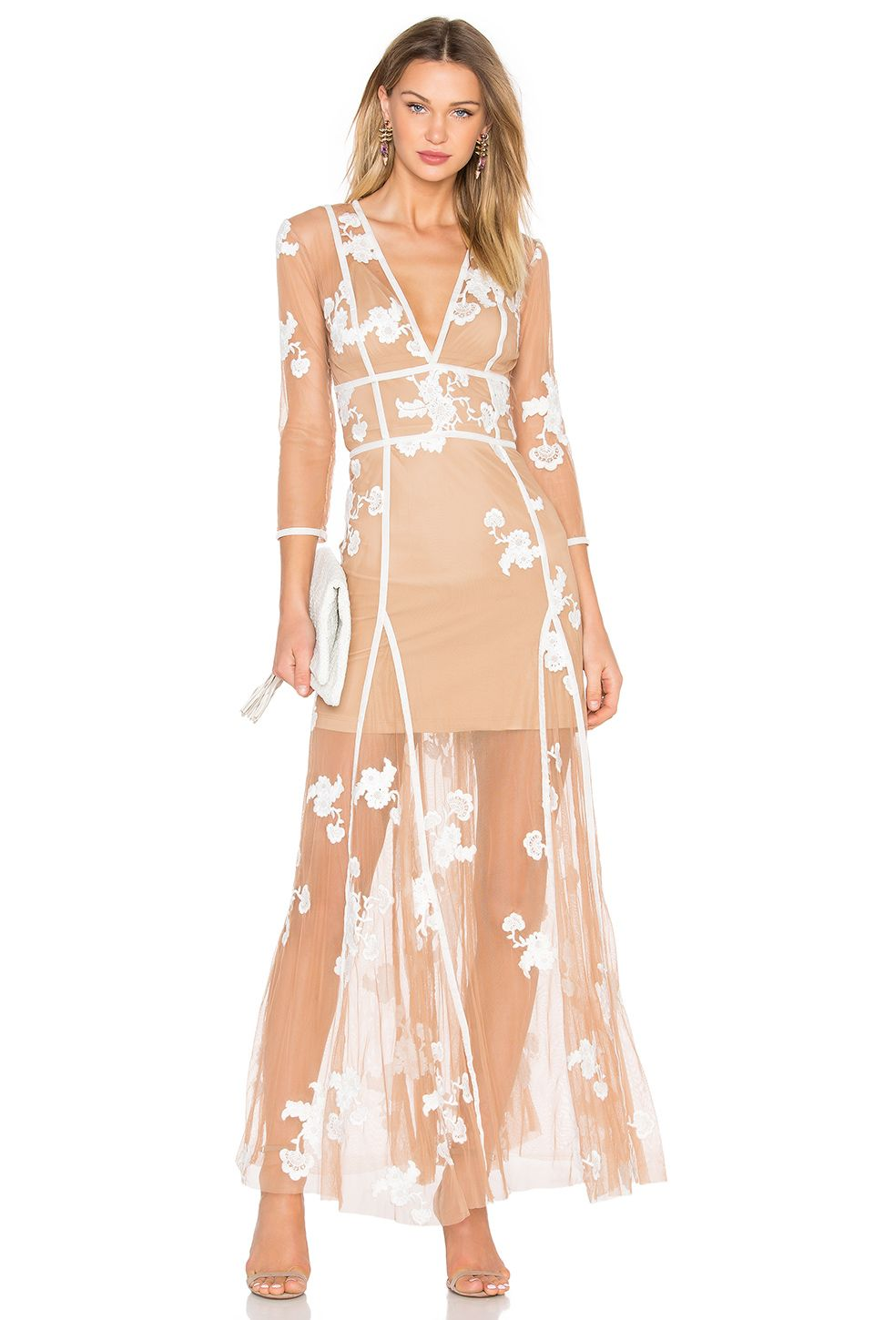 For Love & Lemons Elenora Maxi Dress in White & Nude | Clothes ...