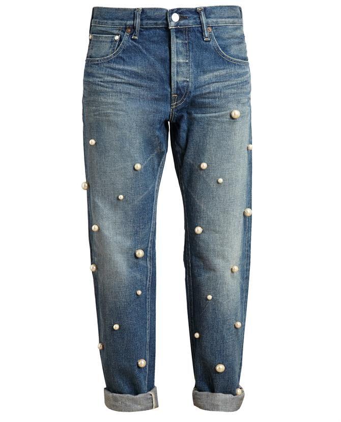 { pearl-embellished boyfriend jeans } | Clothing/Denim - DIY tuning | Pinterest | Boyfriend ...