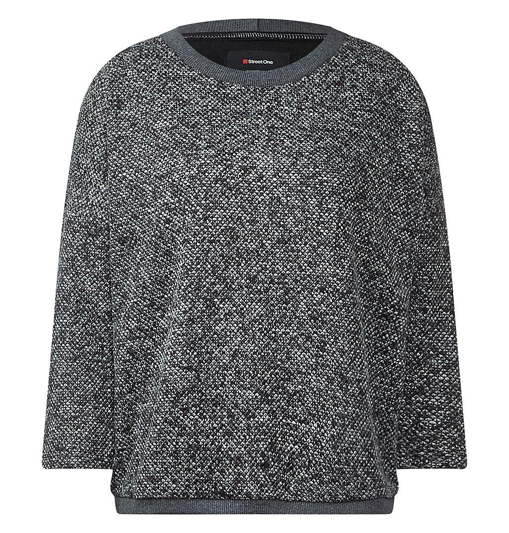 Bouclé-Sweatshirt Pina    Lässiges Sweatshirt mit Fledermausärmeln aus lebendig gemustertem Bouclé: das Modell Pina von Street One. Das etwas weiter geschnittene Sweatshirt sorgt mit seinem unregelmäßig gemusterten Bouclé-Garn für trendige Eyecatcher-Effekte. Die coole Optik wird von 3/4-Ärmeln im Fledermaus-Style unterstrichen. Mit seinem strukturierten Griff und den tonigen Rippstrick-Kanten ...