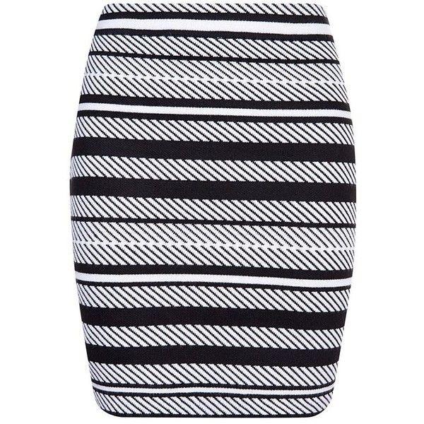 Monochrome Stripe Knit Mini Skirt (2410 RSD) ❤ liked on Polyvore featuring skirts, mini skirts, elastic waist skirt, short skirts, mini skirt, striped mini skirt and striped knit skirt